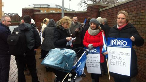 Nurses protested at lunchtime at Beaumont Hospital