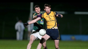 Meath's Adam Flanagan and Tom Flynn of DCU battle for possession at Páirc Tailteann, Navan