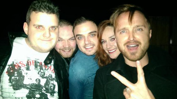 Aaron Paul and some new friends. Pic:  @johncarroll1988