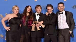 l-r Boyhood stars Patricia Arquette and Lorelei Linklater, director Richard Linklater and stars Ellar Coltrane and Ethan Hawke
