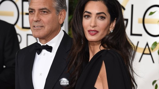 George Clooney wears a Je Suis Charlie button