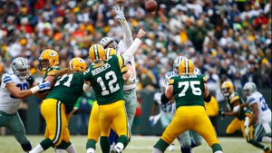 Aaron Rodgers of the Green Bay Packers throws a pass