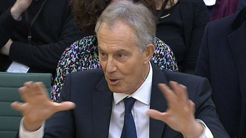 Tony Blair answers questions at the parliamentary inquiry into the OTR letters at the House of Commons