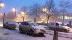 A snow shower in Carlow this evening (Pic: Lyn Moloney)