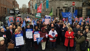Members of the INMO and SIPTU attended the protest