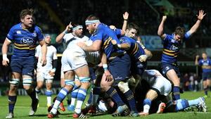 Martin Moore (hidden) scores Leinster's second try