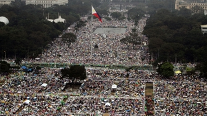 A aerial photo from the Philippine Air Force shows the crowd waiting for the arrival of Pope Francis