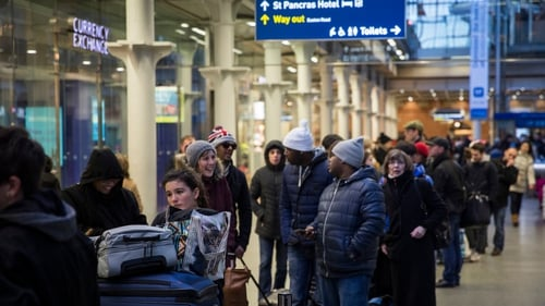 There were large queues at St Pancras station in London