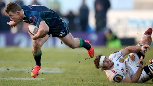 Connacht's Matt Healy tackled by Don Armand of Exeter Chiefs