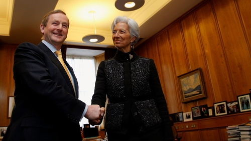 Enda Kenny and Christine Lagarde at Government Buildings today