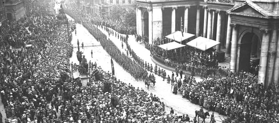 Victory Parade, College Green, Dublin (1919)