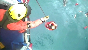 The five people on board the fishing vessel were rescued (Pic: Maritime and Coastguard Agency)