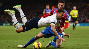 Kyle Walker takes a tumble against Crystal Palace