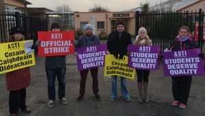 Teachers on strike at St Joseph's Secondary School in Rush, Co Dublin