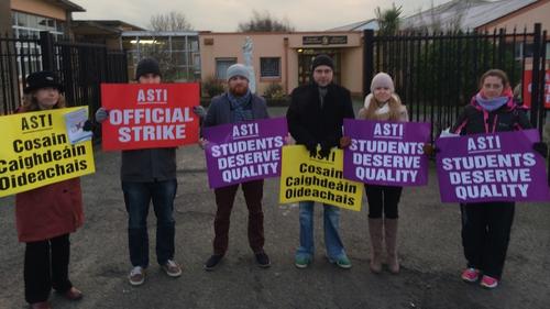 Teachers on strike at St Joseph's Secondary School in Rush, Co Dublin