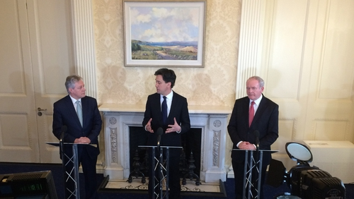 Ed Miliband (C) met Peter Robinson (L) and Martin McGuinness in Belfast