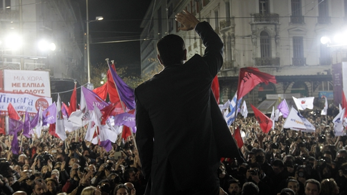Alexis Tsipras told the crowd: 'We are asking for a first chance for Syriza'