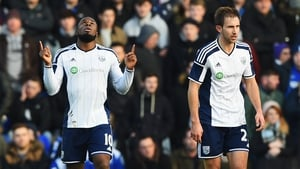 Victor Anichebe (l) of West Brom celebrates scoring his second goal