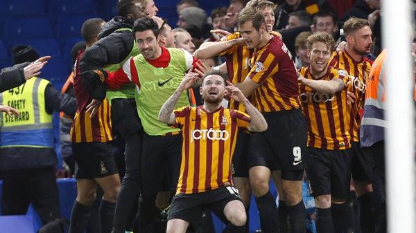 Mark Yeates scored the fourth goal in Bradford's 4-2 win against Chelsea