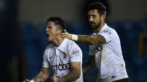 Alan Sheehan (R) and Billy Knott celebrate a third round goal against Millwall