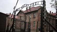 Picture showing the 'Arbeit Macht Frei' ('Work Makes Free') sign at the entrance of Auschwitz