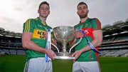 Paul Geaney of Kerry and Mayo's Seamus O'Shea at the launch of this year's Allianz Football League at Croke Park