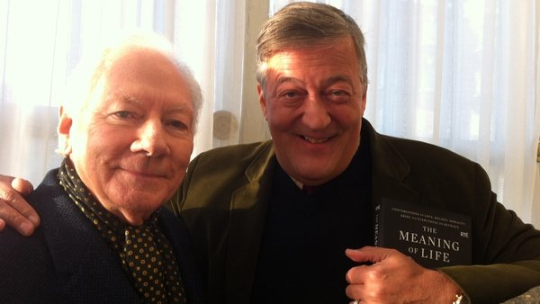 Gay Byrne pictured with Stephen fry during filming for The Meaning of Life