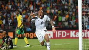 Andre Ayew celebrates after scoring Ghana's winning goal