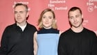 (l-r) Brooklyn director John Crowley and stars Saoirse Ronan and Emory Cohen at the Sundance Film Festival