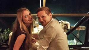 Kit Williams and James Sutton just after their engagement
