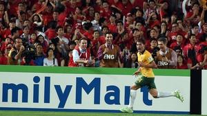 Australia's James Troisi celebrates scoring the winner in extra time