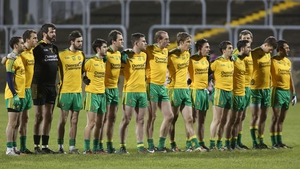 The Donegal team line up for the national anthem