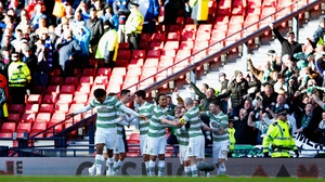 Celtic celebrate as the Bhoys enjoyed a 2-0 lead at half-time