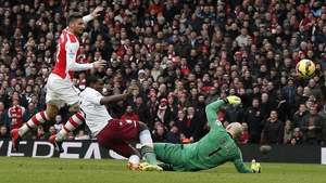 Olivier Giroud scored Arsenal's first as they crushed Villa