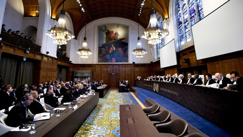 The court during the verdict on genocide claims at the UN International Court of Justice in The Hague