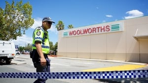 Police and firefighters at the scene of an explosion at the Galleria Shopping Centre in Morley, Perth