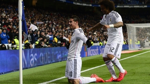 James Rodriguez scored against Sevilla before going off injured