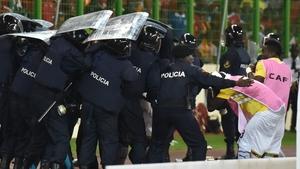 Riot police protect Ghana players