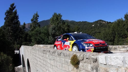 Sebastien Loeb and Daniel Elena in their Citroen C4 in Corsica in 2008