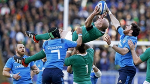 Paul O'Connell claims a lineout ball during Ireland's Six Nations win in Italy