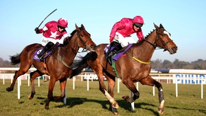 Apache Stronghold (cerise silks) is the shortest price of Noel Meade's Cheltenham contenders at 6-1 for the JLT Novices' Chase