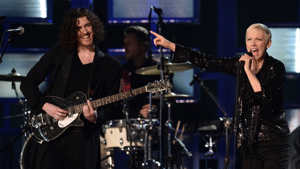 Hozier and Annie Lennox at the Grammy Awards