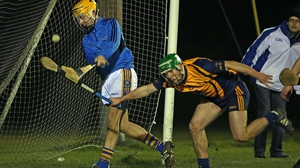 DCU's Cathal Curran with Jack Higgins of St Patricks-Mater Dei  during the sides' Fitzgibbon Cup match