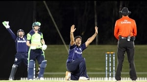 Majid Haq successfully appeals as Scotland beat Ireland in a World Cup warm-up match in Australia