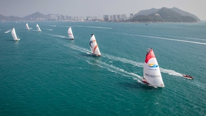 The Volvo Ocean Race fleet during the start of Leg 4 from Sanya to Auckland