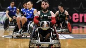 Ireland's Alan Dineen in action during the wheelchair rugby international against Italy in Rome