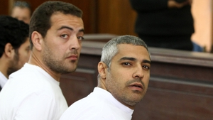Baher Mohamed (L) and Mohamed Fahmy were both released this morning