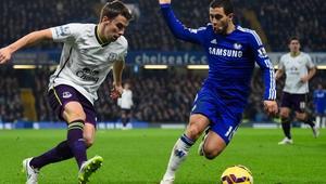 Eden Hazard in action against Everton's Seamus Coleman