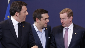Italy's Prime Minister Matteo Renzi (L), Greek Prime Minister Alexis Tsipras and Taoiseach Enda Kenny at the EU summit in Brussels