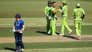 Yasir Shah of Pakistan celebrates taking the wicket of England captain Eoin Morgan